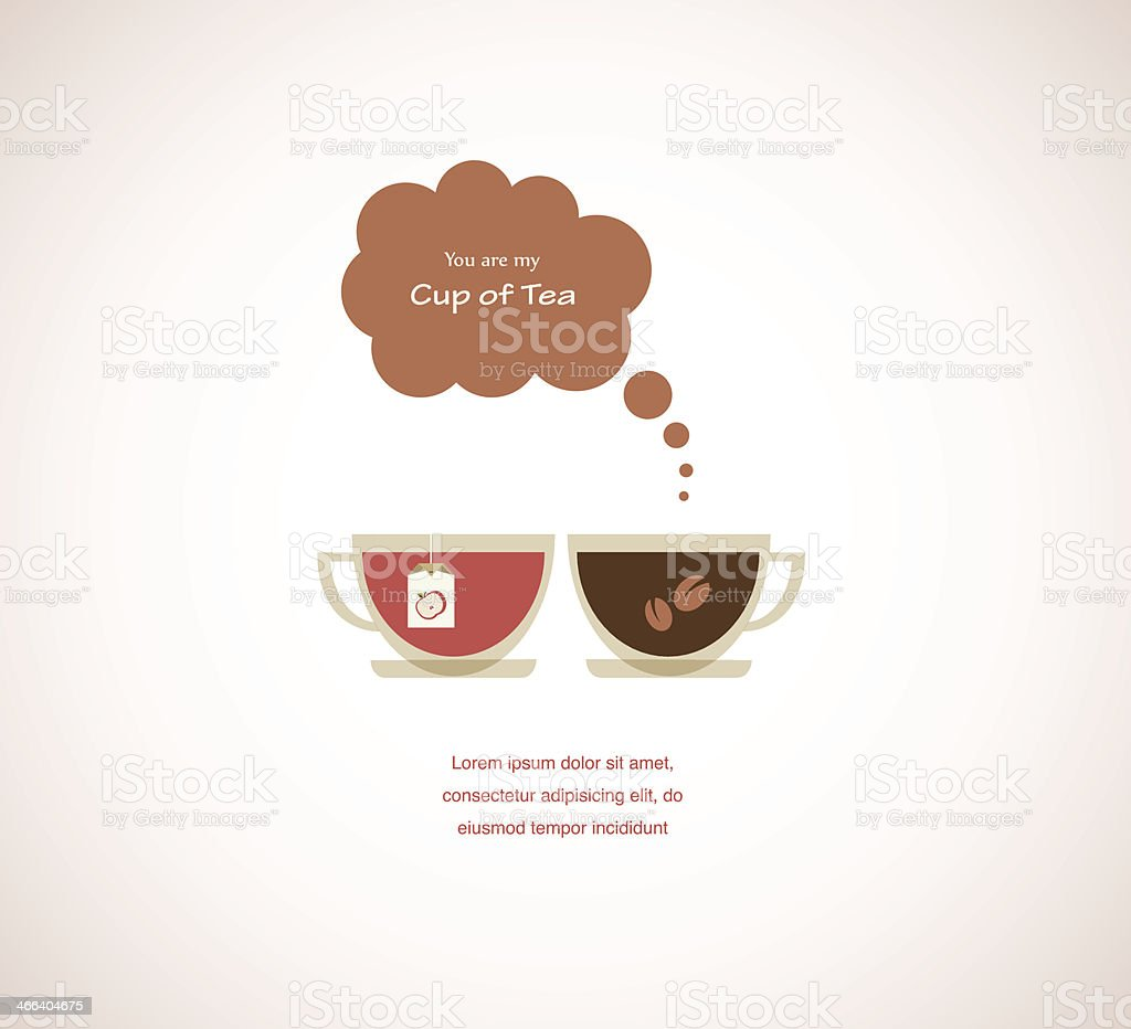 coffee and tea cups on Valentines card vector art illustration