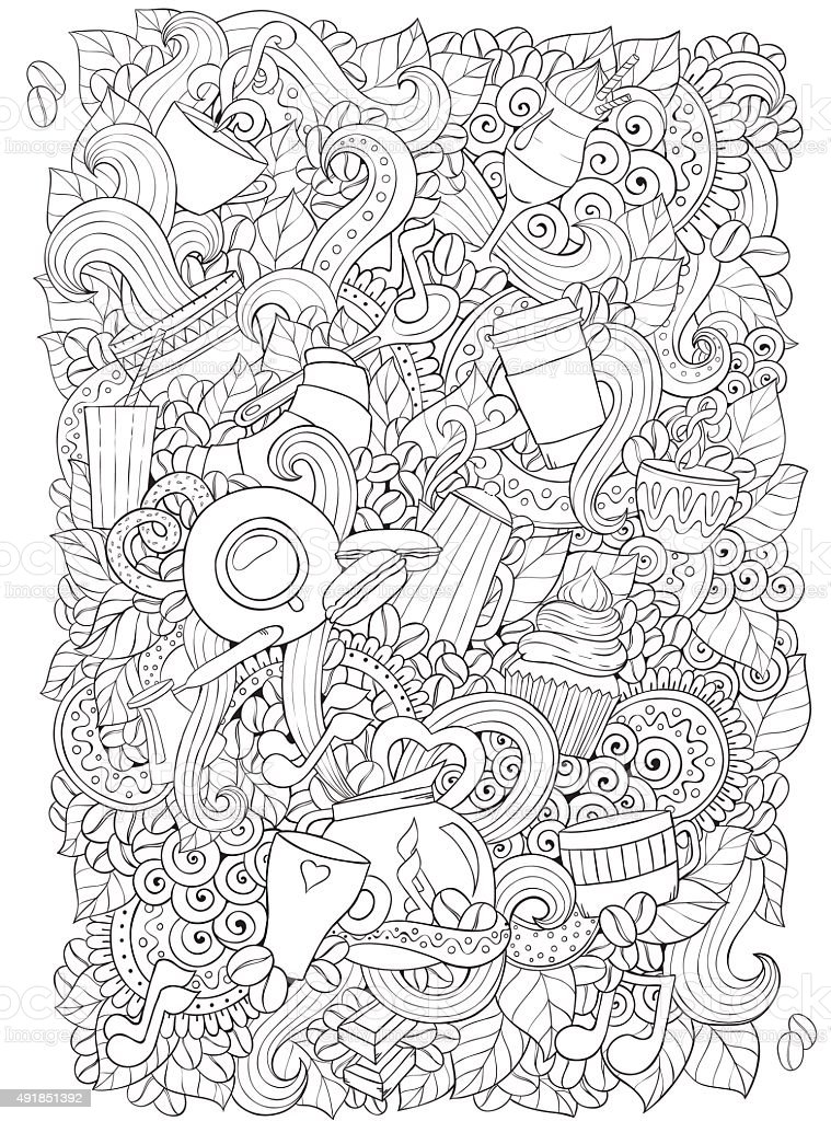 Coffee and tea doodle background in vector with paisley. vector art illustration