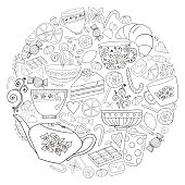 Coffee and tea doodle background in vector with paisley. Ethnic  pattern can be used for menu, wallpaper, pattern fills, coloring books and pages for kids and adults. Black and white.