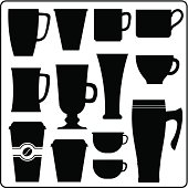 Coffee cups and mugs in silhouette. Black and white.