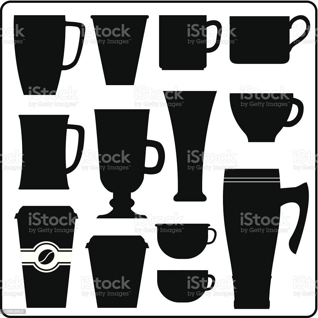 Coffee and tea hot drink cups vector art illustration