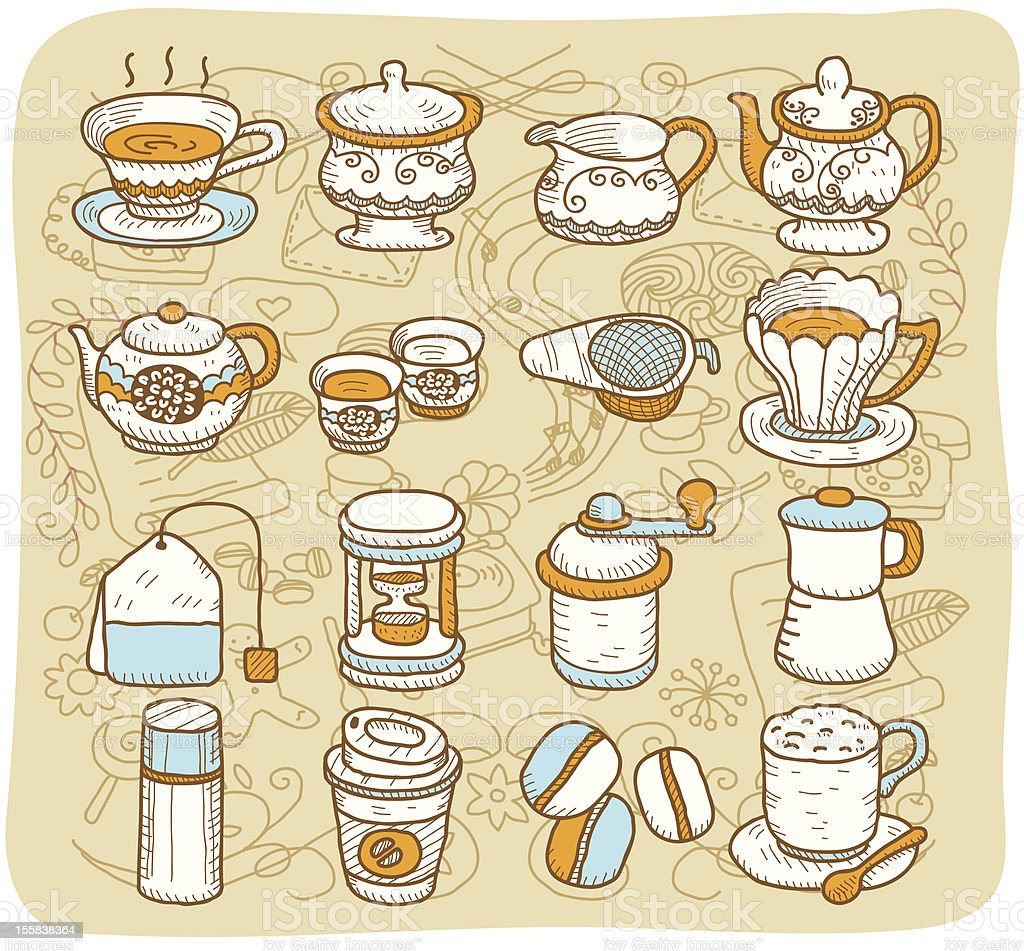 Coffee and Tea icon set  | Mocha Series royalty-free stock vector art