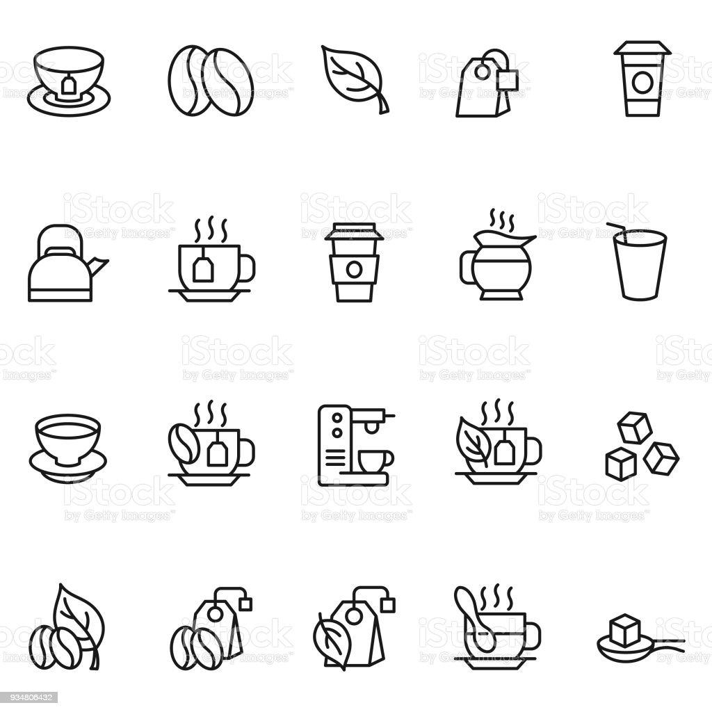 Coffee and tea icon set vector art illustration