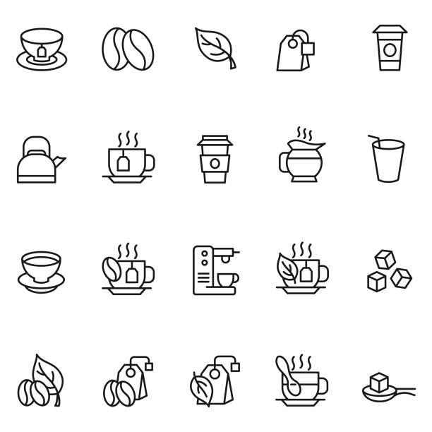 ilustrações de stock, clip art, desenhos animados e ícones de coffee and tea icon set - chá bebida quente
