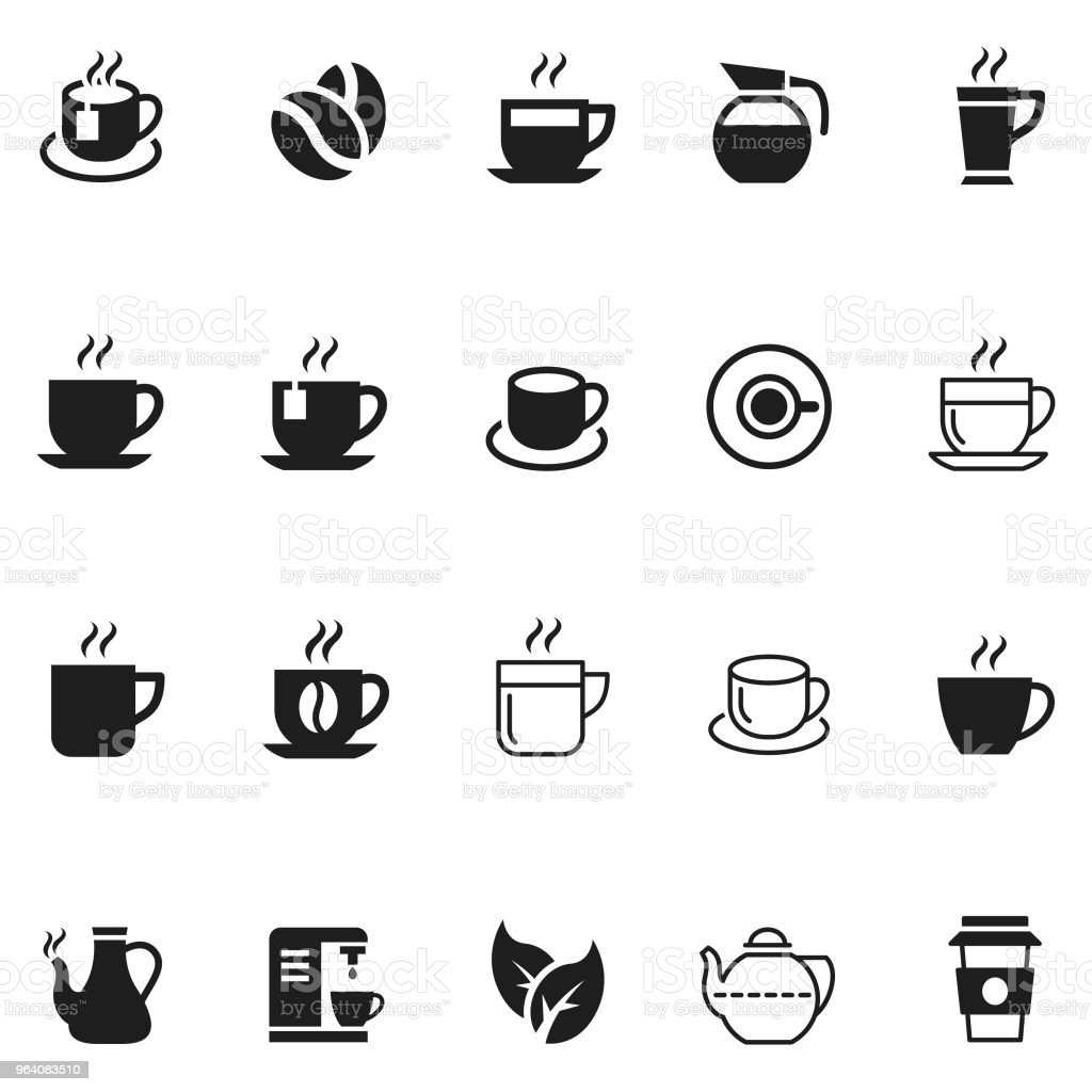 Coffee and tea icon set - Royalty-free Breakfast stock vector
