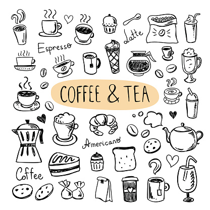Coffee and tea icons. Cafe menu, sweets, cups, cookies, desserts clipart