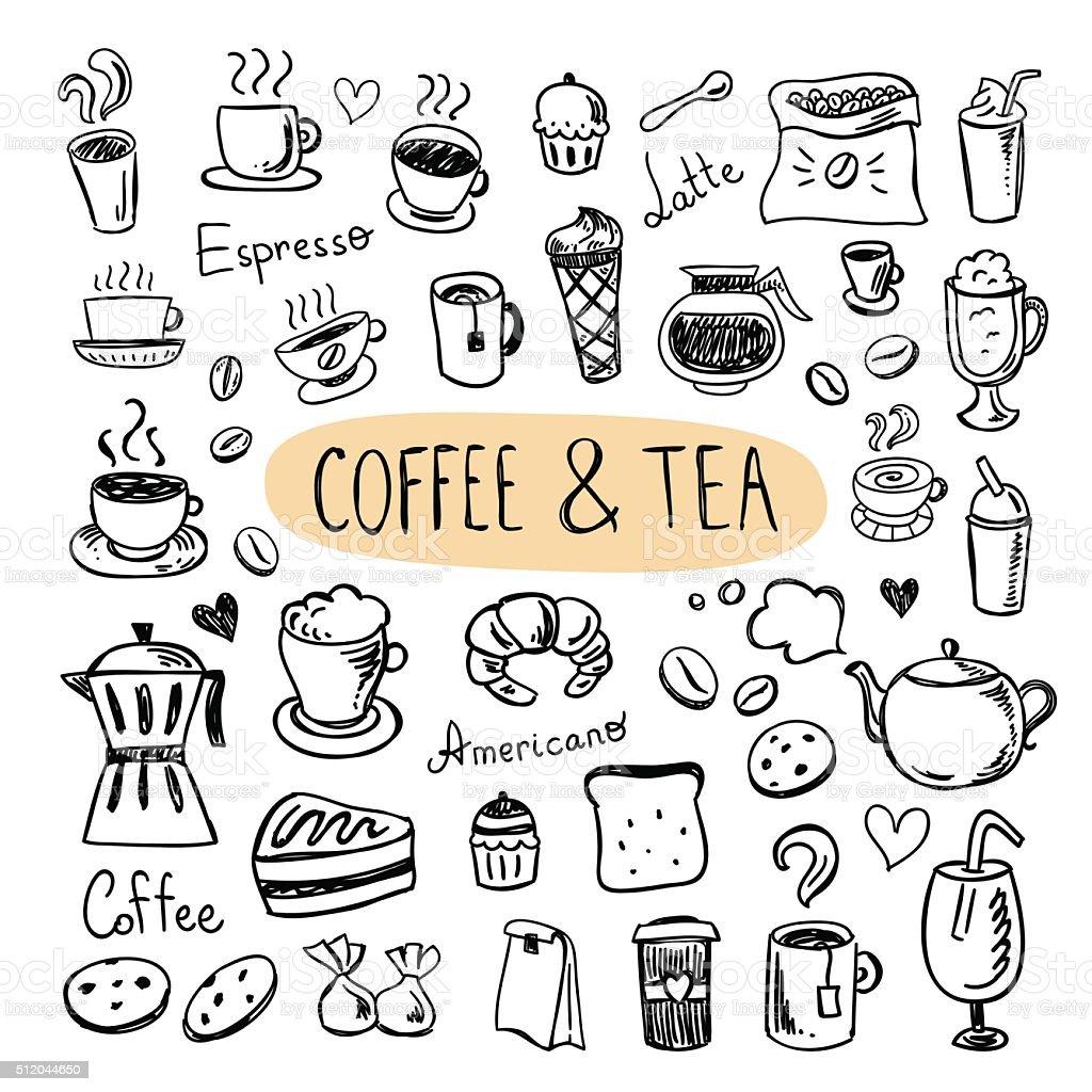 Iconos café y té. Menú del café, tazas, galletas dulces, postres, - ilustración de arte vectorial