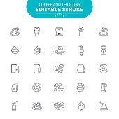 Cafe, Bakery, Cake, Coffee Cup, Coffee Shop, USA, Editable Outline Icon Set