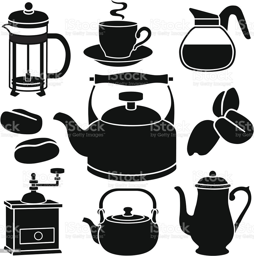 coffee and tea icons vector art illustration