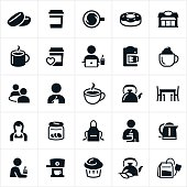 Icons relating to coffee and tea. The icons include coffee beans, cups of coffee, coffee shop, doughnut, coffee, coffee maker, expresso, expresso machine, person drinking coffee, coffee at computer, tea, tea cup, kettle, table, barista, tip jar, apron, muffin and tea bag to name a few.