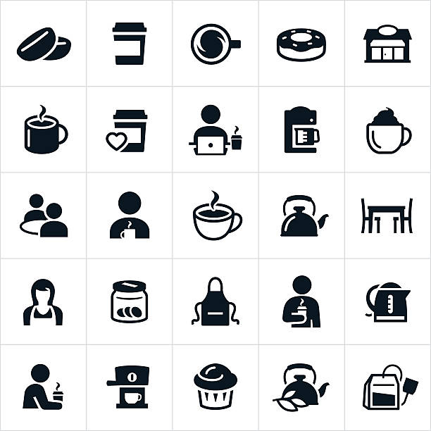 coffee and tea icons - barista stock illustrations, clip art, cartoons, & icons