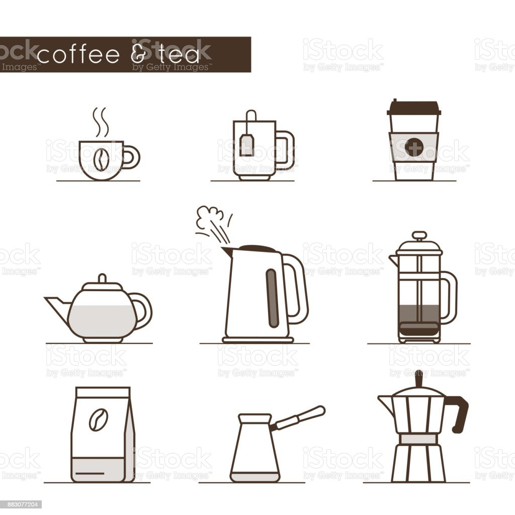 coffee and tea icons royalty-free coffee and tea icons stock illustration - download image now