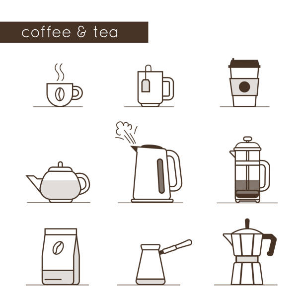 coffee and tea icons Coffee and tea icons collection. Flat line style vector illustration. teapot stock illustrations