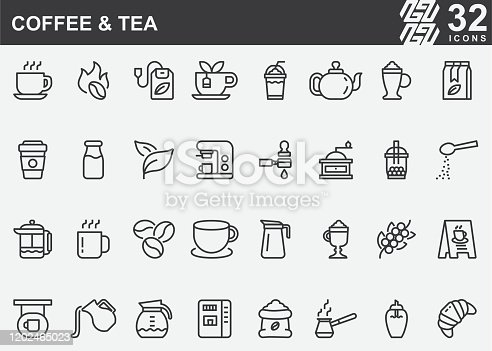 Coffee and Tea Line Icons