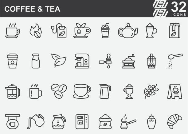 Coffee and Tea Line Icons Coffee and Tea Line Icons coffee crop stock illustrations