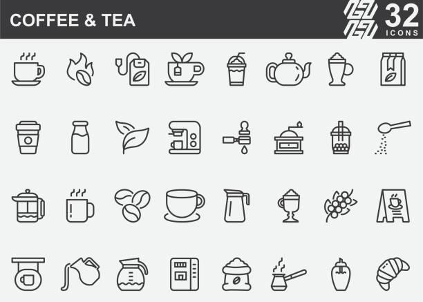 咖啡和茶線圖示 - cafe 幅插畫檔、美工圖案、卡通及圖標