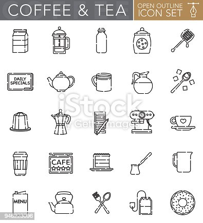 A group of 25 tea and coffee 'open outline' thin line icons. File is built in the CMYK color space for optimal printing. Icons are grouped and easy to isolate.