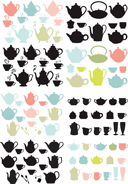 coffee and tea pots and mugs, vector coffee and tea pots and mugs, set of vector design elements teapot stock illustrations