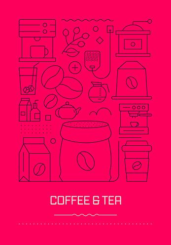 Coffee and Tea Related Modern Line Design Brochure, Poster, Flyer, Presentation Template Vector Illustration