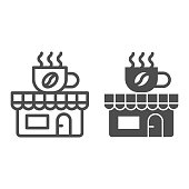 Coffee and tea shop line and solid icon, Coffee time concept, cafe sign on white background, store with banner with a cup icon in outline style for mobile concept and web design. Vector graphics