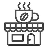 Coffee and tea shop line icon, Coffee time concept, cafe sign on white background, store with banner with a cup icon in outline style for mobile concept and web design. Vector graphics