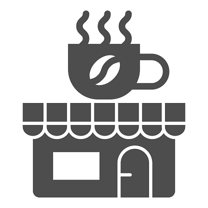 Coffee and tea shop solid icon, Coffee time concept, cafe sign on white background, store with banner with a cup icon in glyph style for mobile concept and web design. Vector graphics