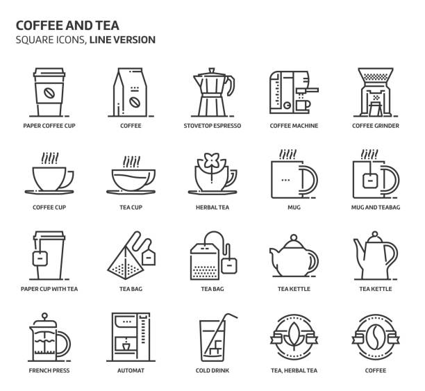 Coffee and tea, square icon set Coffee and tea, square icon set. The illustrations are a vector, editable stroke, thirty-two by thirty-two matrix grid, pixel perfect files. Crafted with precision and eye for quality. espresso stock illustrations