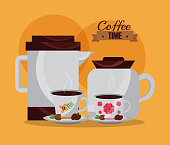 coffee makers and cups and seeds kitchenware floral vector illustration