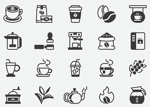 Coffee and Tea.Coffee Cafe Vector Line Icon Set.Contains such Icons as Hot Coffee.Coffee Machine.Pixel Perfect Icons
