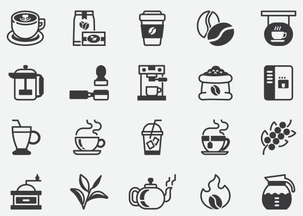 Coffee and Tea.Coffee Cafe Vector Line Icon Set.Contains such Icons as Hot Coffee.Coffee Machine.Pixel Perfect Icons Coffee and Tea.Coffee Cafe Vector Line Icon Set.Contains such Icons as Hot Coffee.Coffee Machine.Pixel Perfect Icons caffeine stock illustrations