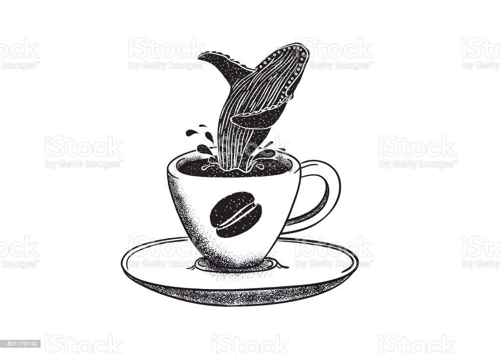 Kaffee und Wal – Vektorgrafik