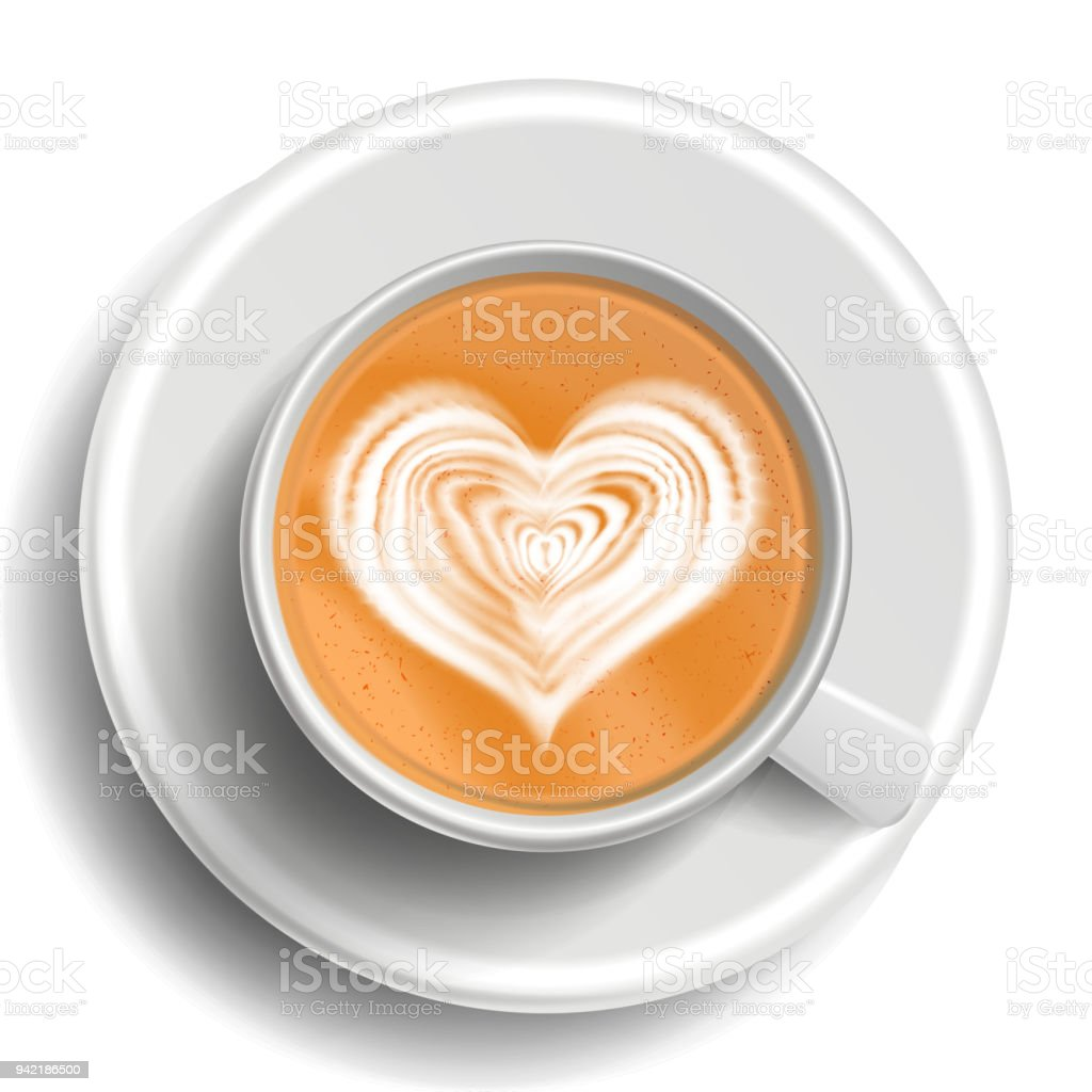 Coffee Art Vector. Top View. Hot Cappuccino Coffee Cup. Espresso....