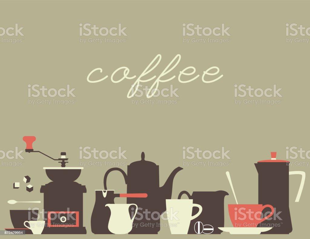 Fundo do café. Um conjunto de ícones de pratos simples para uma casa de café. Ilustração em vetor. - ilustração de arte em vetor