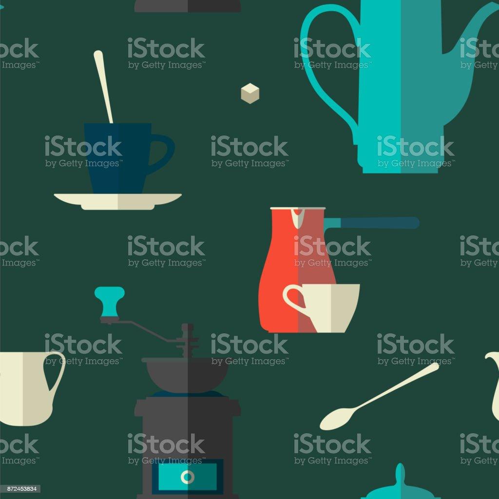 Fundo do café. Padrão sem emenda com utensílios de mesa. Pote de café, moedor, Copa, cezve, jarro. Ícones de plana de vetor. - ilustração de arte em vetor