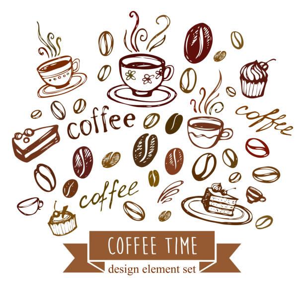 Coffee Background. Vector Elements of Design vector art illustration