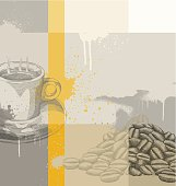 Coffee Themed Background - vector illustration