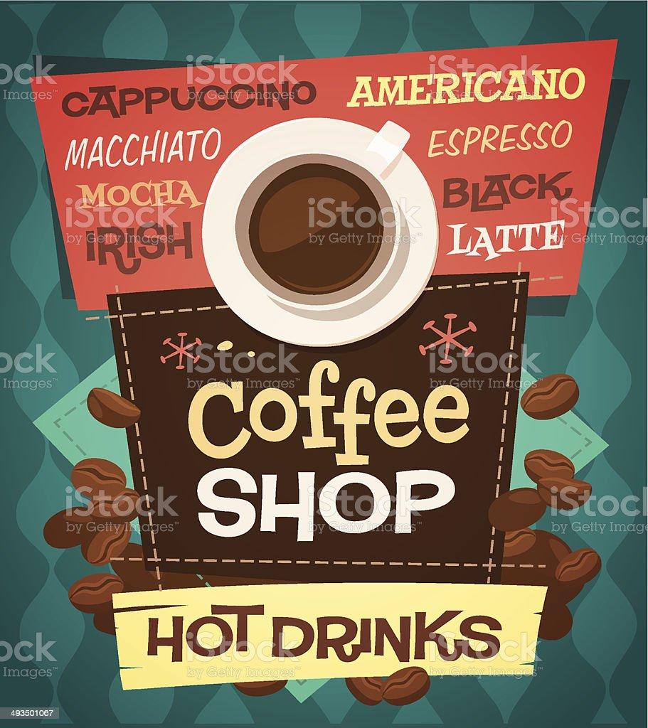 Coffee background vector art illustration