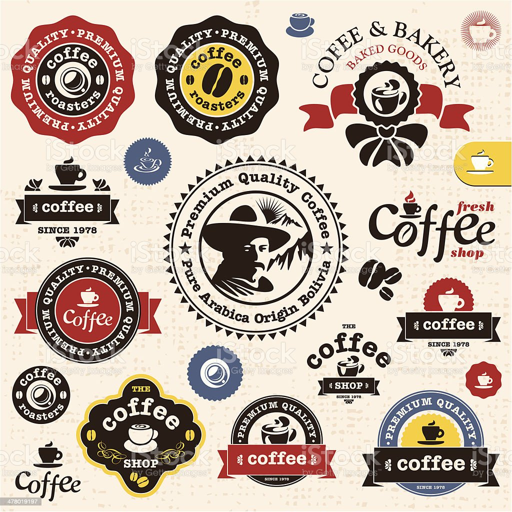 Coffee badges and labels vector art illustration