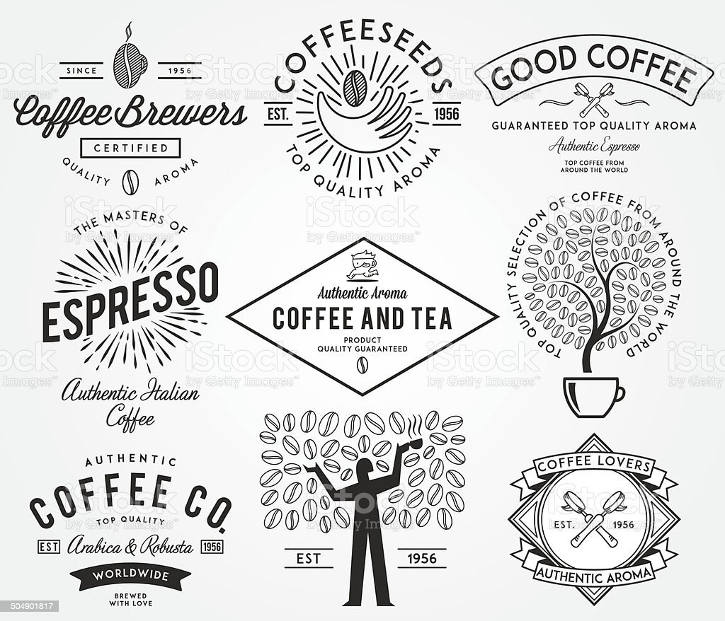Coffee badges black vector art illustration