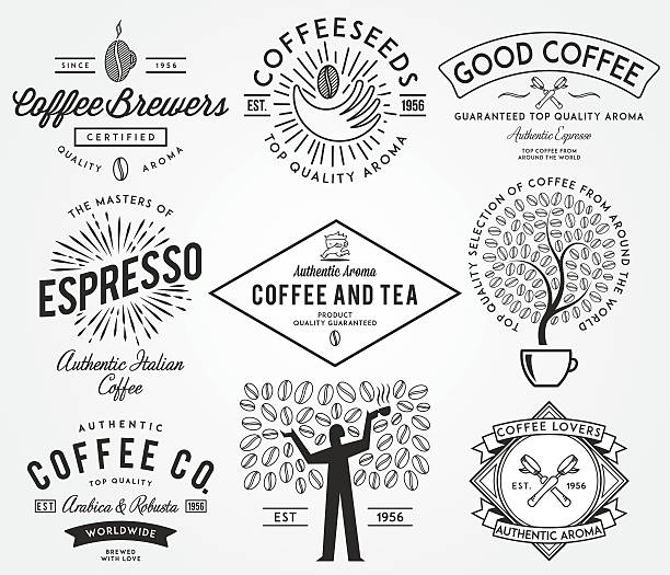 coffee badges black - barista stock illustrations, clip art, cartoons, & icons