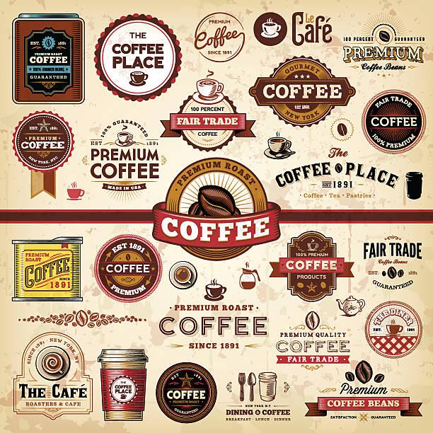 ilustrações de stock, clip art, desenhos animados e ícones de emblemas de café etiquetas & - coffe shop