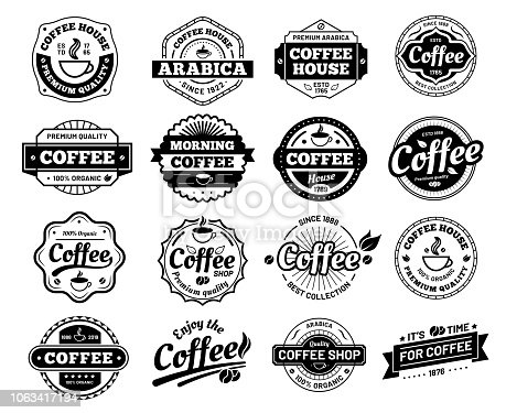 Coffee badges. Cafe stamp sticker. Restaurant. Vintage cafes antique, dirty mug roast quality restaurant insignia designs. Vector isolated icons illustration set