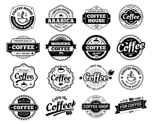 odznaki kawowe. - insygnia stock illustrations