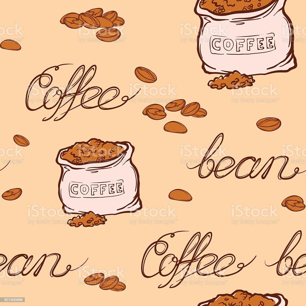Coffee bag and beans pattern coffee bag and beans pattern - immagini vettoriali stock e altre immagini di arrosto - cibo cotto royalty-free