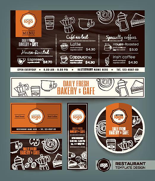 ilustrações, clipart, desenhos animados e ícones de café e padaria cafe, menu de fixo modelo de projeto - delicatessen