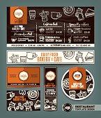 Coffee Bakery shop cafe set menu design template
