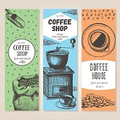 Coffee banner set. Coffee shop design template. Vector illustration in sketch style. Hand drawn coffee vertical banners. Line drawing