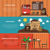 Cafe bar with coffee machine and decorative sacks with beans 2 flat horizontal banners abstract vector illustration