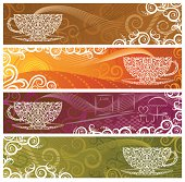 Lacy Stylized Coffee Banners. Decorated with tea leaves, coffee beans, coffee berries and vines. Room for your text.