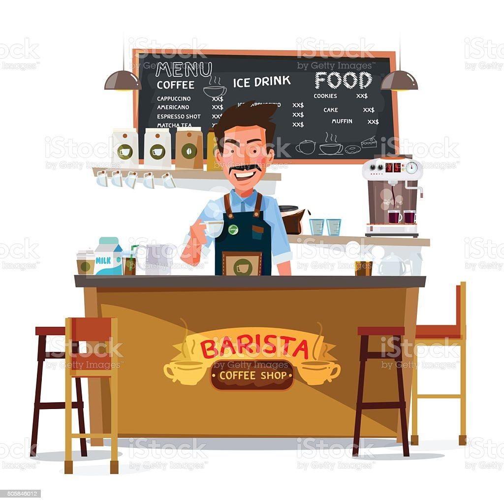 coffee bar and barista man. character design - vector vector art illustration